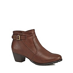 Good for the Sole - Brown 'Gerdie' mid block heel wide fit ankle boots