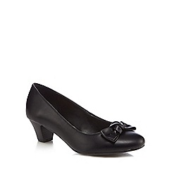 Good for the Sole - Black 'Glow' mid heel wide fit court shoes
