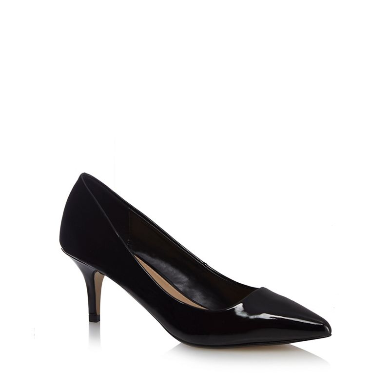 The Collection Black Chesney mid kitten heel court shoes