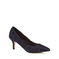 The Collection - Navy lace 'Chesney' mid kitten heel court shoes