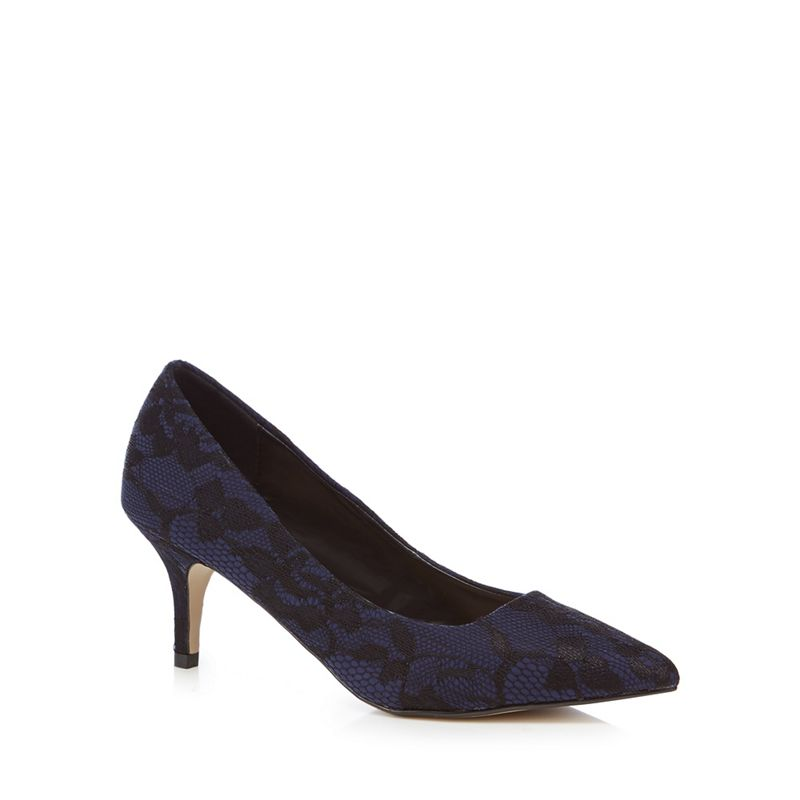 The Collection Navy lace Chesney mid kitten heel court shoes