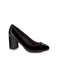 The Collection - Black patent 'Collette' high block heel court shoes