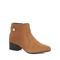 The Collection - Tan suedette 'Ciba' mid block heel ankle boots
