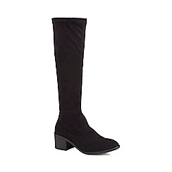 The Collection - Black suedette mid block heel knee high boots