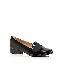 The Collection - Black patent 'Coco' block heel loafers