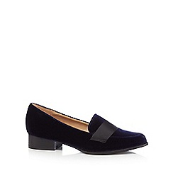 The Collection - Navy 'Coco' velvet block heel loafers