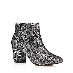 The Collection - Metallic 'Cracker' high block heel ankle boots