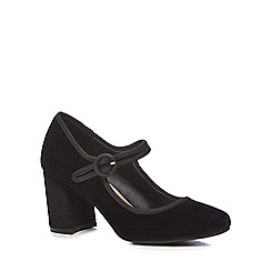 The Collection - Black 'celvet' high block heel mary janes