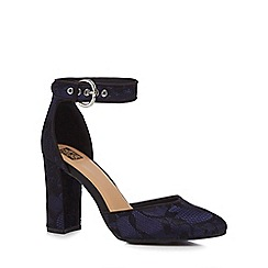 The Collection - Navy lace 'Catorina' high block heel ankle strap sandals