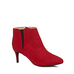 The Collection - Red suedette 'Carolyn' mid kitten heel ankle boots