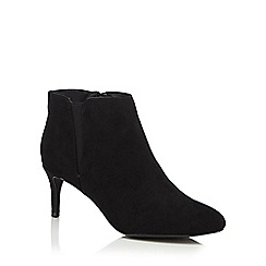 The Collection - Black suedette 'Carolyn' mid kitten heel ankle boots
