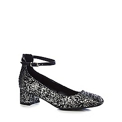 The Collection - Metallic 'Carla' mid block heel court shoes