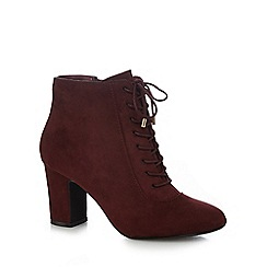The Collection - Dark red suedette 'Corset' mid block heel lace up boots