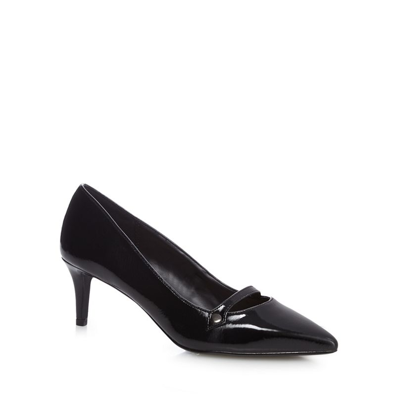 The Collection Black Citten mid kitten heel court shoes