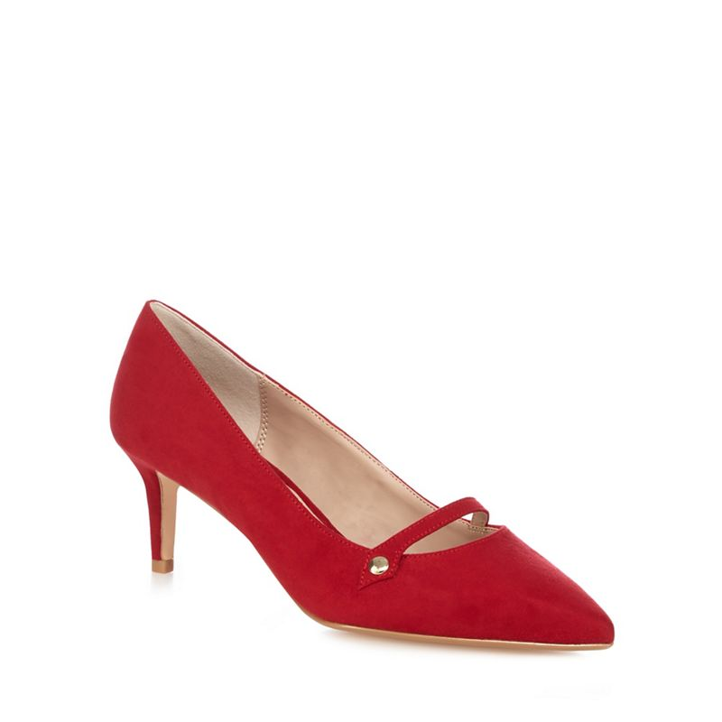 The Collection Red suedette Citten mid kitten heel court shoes
