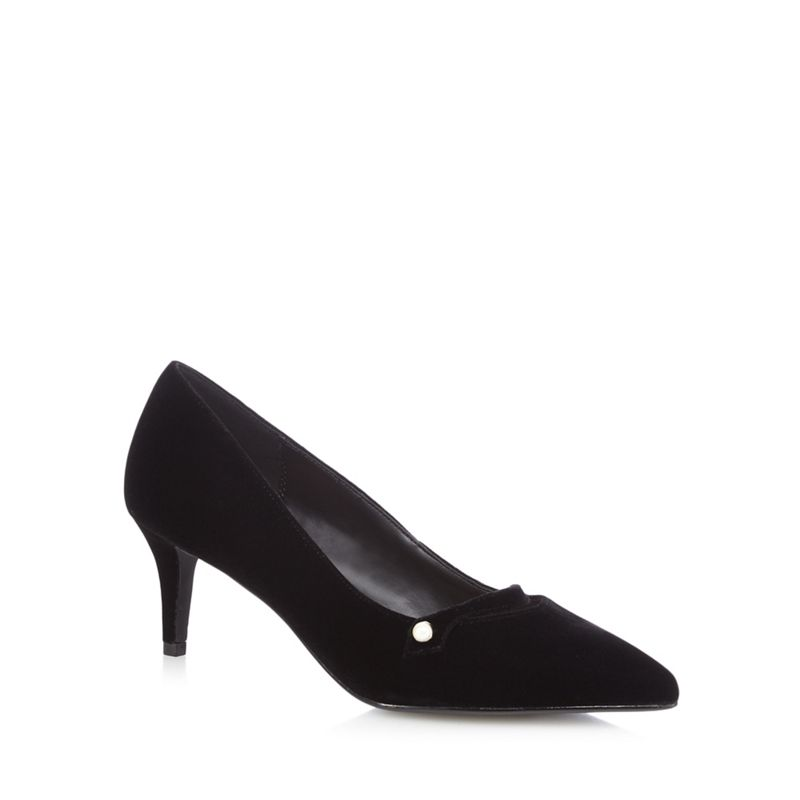 The Collection Black velvet Citten mid kitten heel court shoes