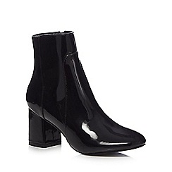 The Collection - Black patent 'Claire' mid block heel ankle boots