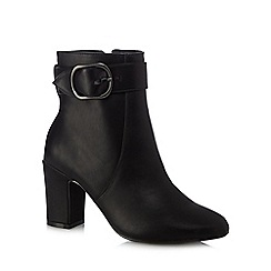 The Collection - Black 'Chuckle' high block heel ankle boots