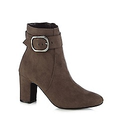 The Collection - Grey suedette high block heel ankle boots