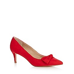 The Collection - Red 'Catherine' bow mid stiletto heel court shoes