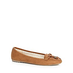 Mantaray - Tan flat slip on loafers