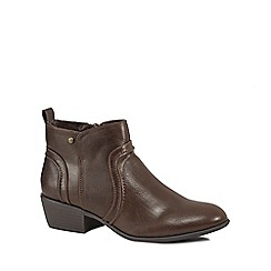 Mantaray - Brown 'Melbourne' mid block heel ankle boots