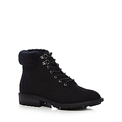 Mantaray - Black suedette 'Megan' lace up boots