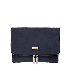 Faith - Navy 'Pringle' suedette clutch bag