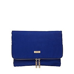 Faith - Bright blue 'Pringle' suedette clutch bag