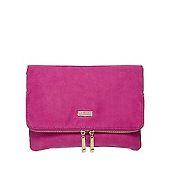 Faith - Bright pink 'Pringle' suedette clutch bag
