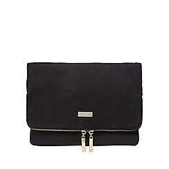 Faith - Black 'Pringle' suedette clutch bag
