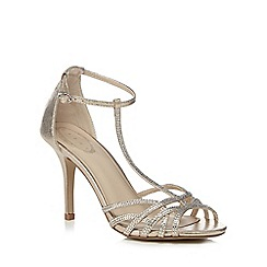 Debut - Gold 'Dancer' high stiletto heel T-bar shoes