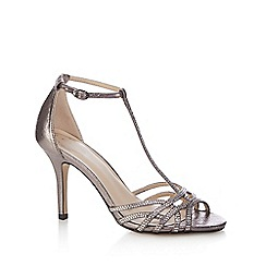 Debut - Silver 'Dancer' high stiletto heel T-bar shoes