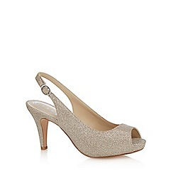 Debut - Silver 'Dashing' high heel wide fit peep toe shoes