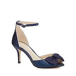 Debut - Navy glittered 'Danna' mid stiletto heel ankle strap sandals