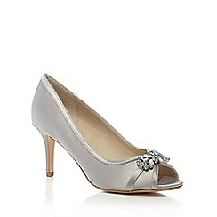 Debut - Silver satin 'Dara' high stiletto heel peep toe shoes