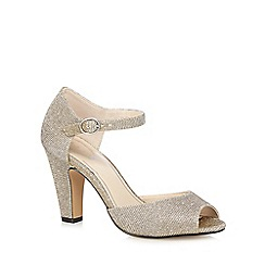 Debut - Gold 'Dea' high block heel peep toe shoes