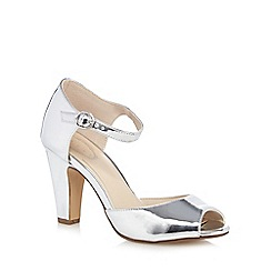 Debut - Silver 'Dea' high block heel peep toe shoes