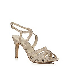 Debut - Gold glitter 'Dwayne' high stiletto heel court shoes