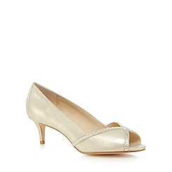 Debut - Gold 'Dulcie' mid peep toe court shoes