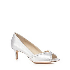 Debut - Silver 'Dulcie' mid stiletto heel peep toe court shoes