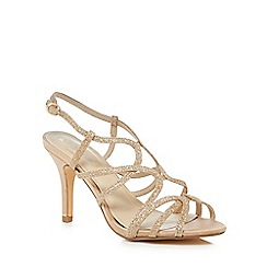 Debut - Gold 'Dais' mid stiletto heel wide fit sandals