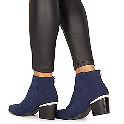 Faith - Navy suedette 'Barleen' high block heel ankle boots