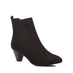Faith - Black suedette 'bev' mid block heel chelsea boots