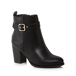 Faith - Black 'Wanda' high block heel wide fit ankle boots