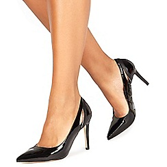 Faith - Black patent 'Collie' high stiletto heel pointed shoes