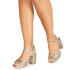 Faith - Gold glitter 'Dorothy' high heel wide fit ankle strap sandals