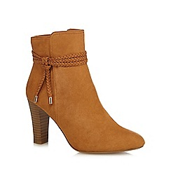 Principles - Tan suedette 'Bibi' high block heel ankle boots