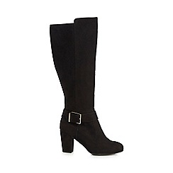 Principles by Ben de Lisi - Black suedette 'Bryanna' high block heel knee high boots
