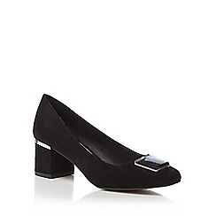 Principles - Black mid block heel court shoe